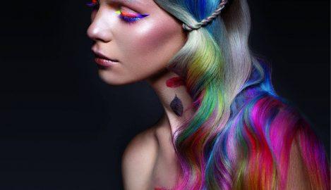 woman colorful hair