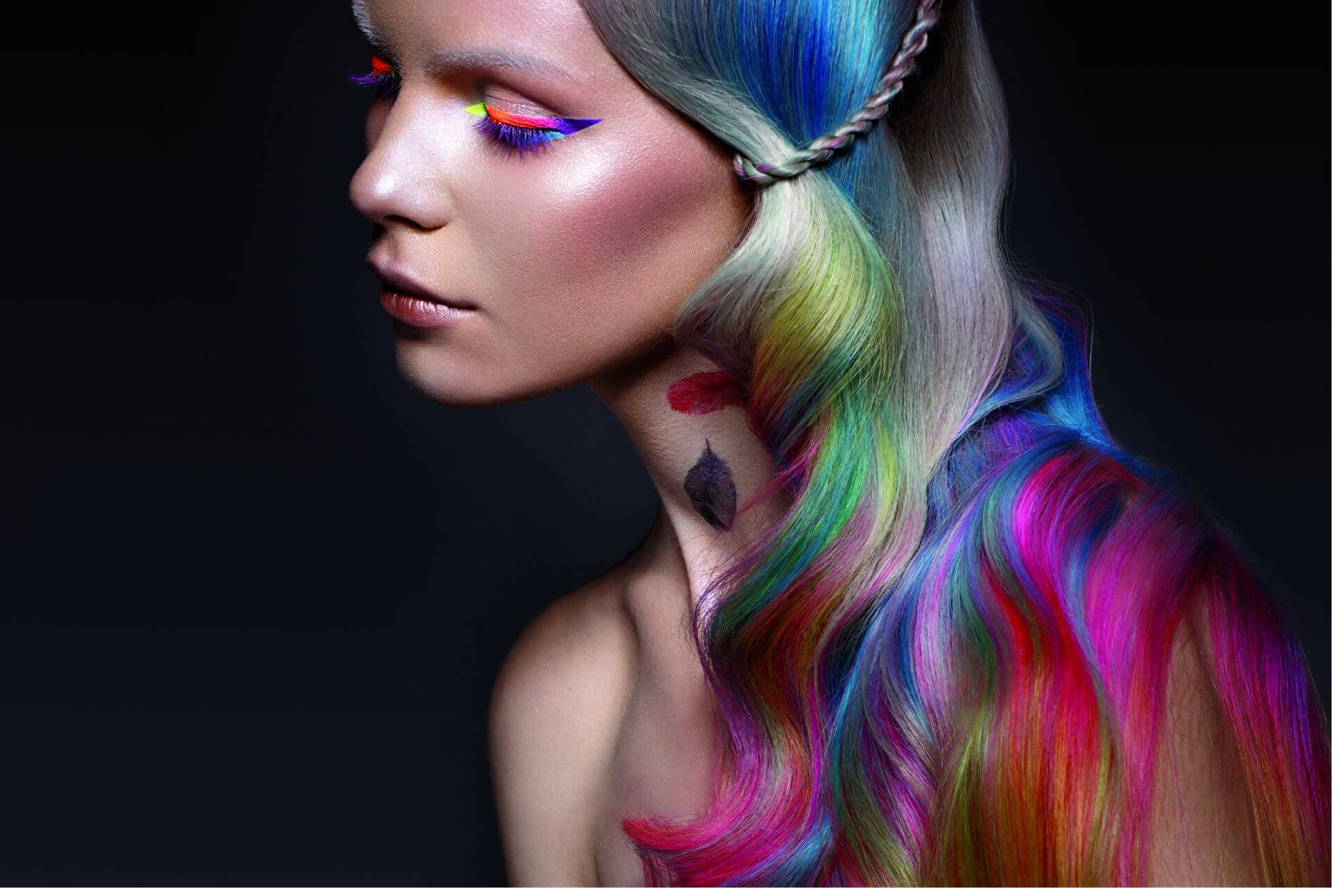 woman colorful hair